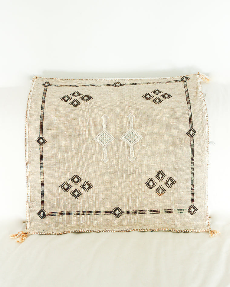 Handwoven Moroccan Cactus Cushion Cover // SAND / Style 2