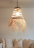 Handwoven Moroccan Lampshade with Fringes / Cone // Small