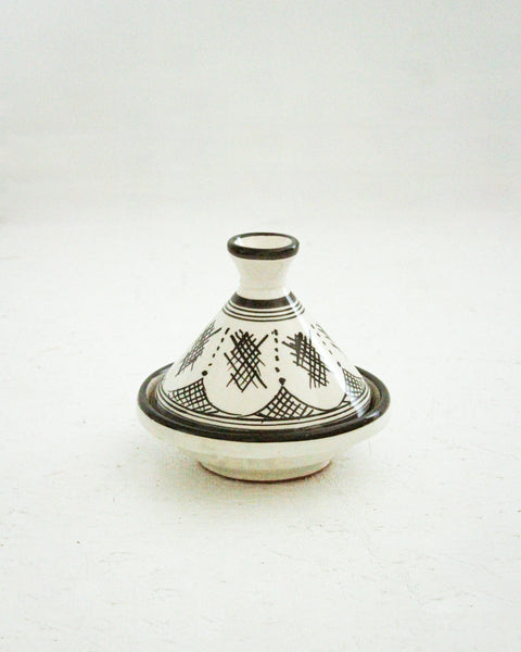 Handmade Moroccan Tagine / Medium // Black & White