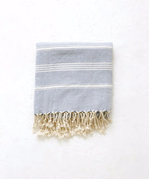 light blue hand loomed organic cotton turkish beach towel