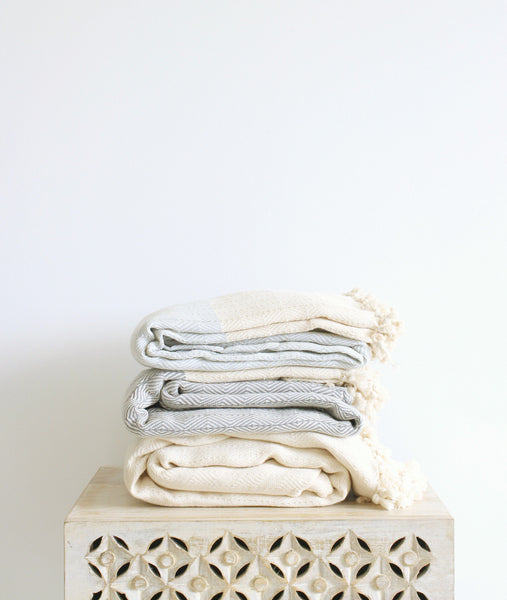neutral hand loomed organic cotton turkish diamond throw