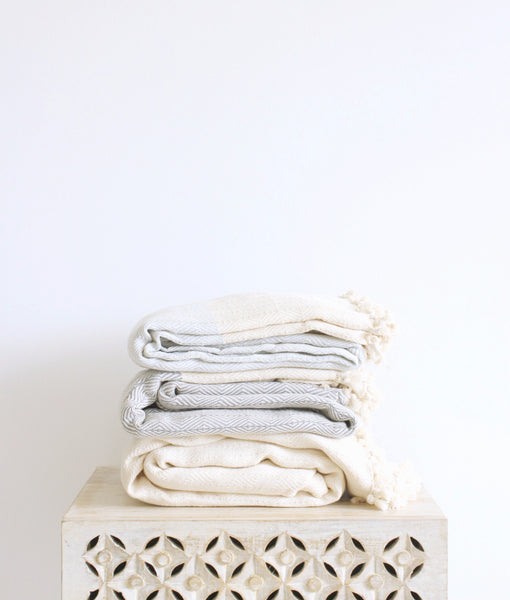 turkish organic cotton diamond throw