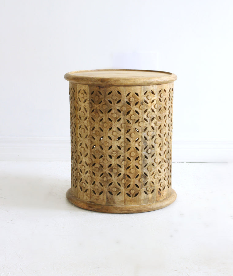 Hand Carved Side Table // Natural
