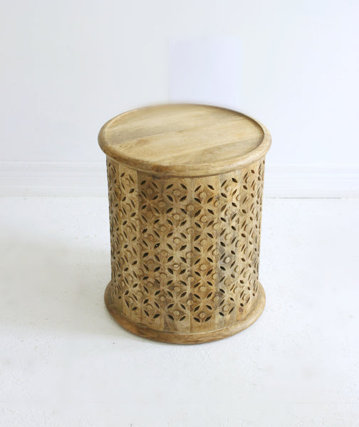 Hand-Carved Side Table // Natural
