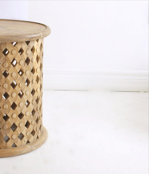 bohemian style hand carved side table