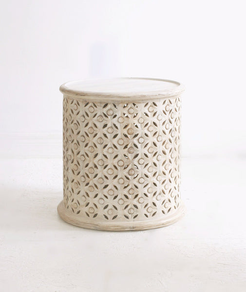 white washed carved indian side table
