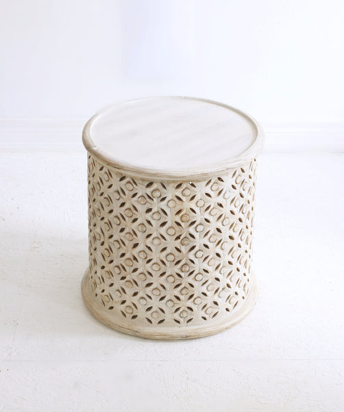 white washed hand carved indian side table