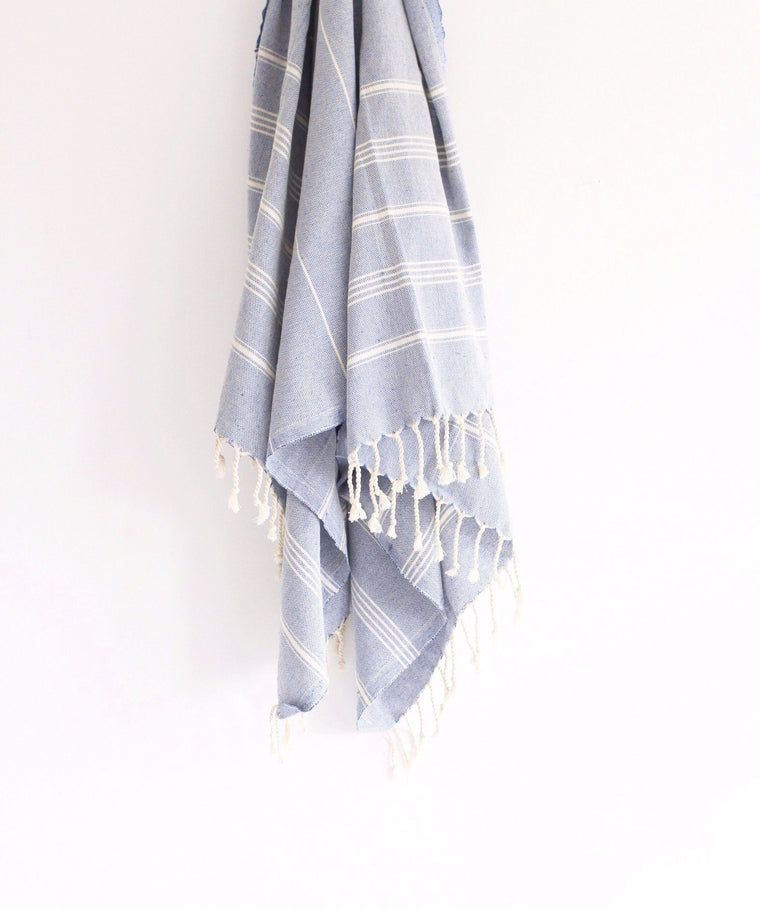 Turkish Hammam Peştamal Towel // Light Blue