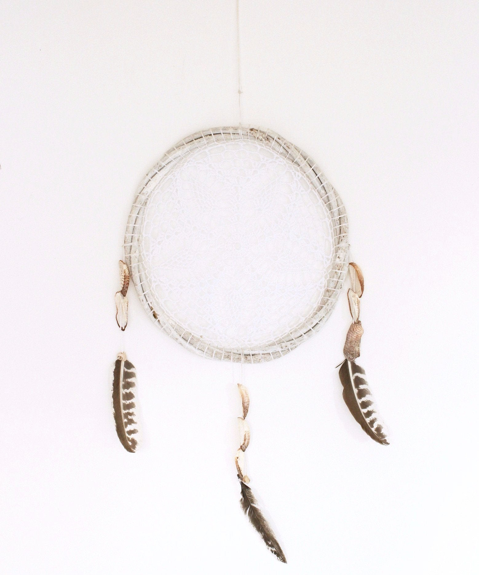 large mexican hand made dream catcher in white