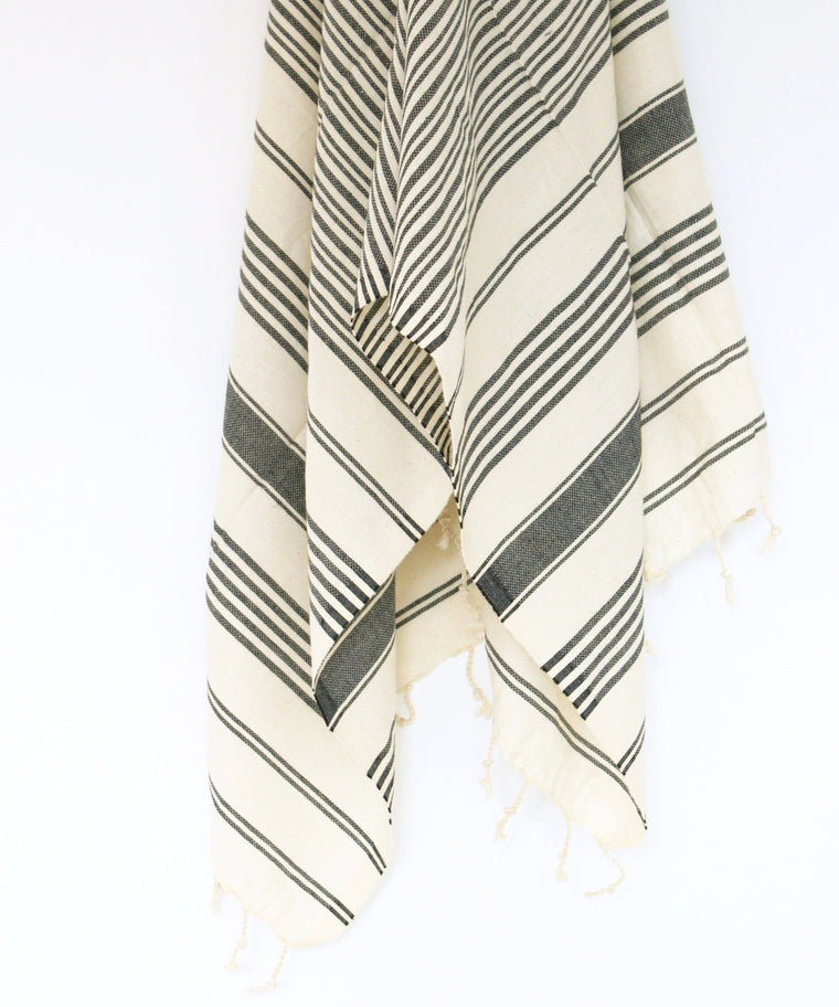 Turkish Hammam Peştamal Towel // Natural With Black Stripes
