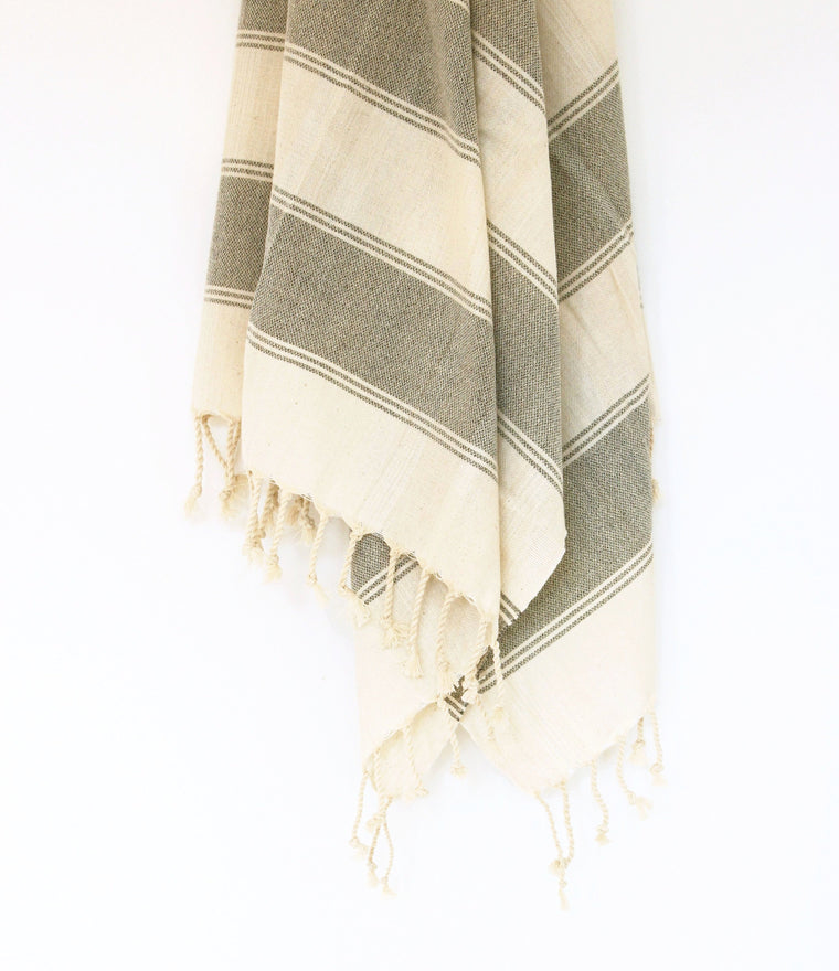 Turkish Hammam Peştamal Towel //  Natural With Grey Stripes