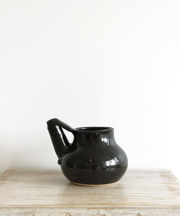 Handmade Pottery / Wine Decanter // Black