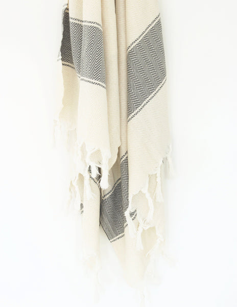 Palm Turkish Towel / WAVY // Natural with Black Stripe
