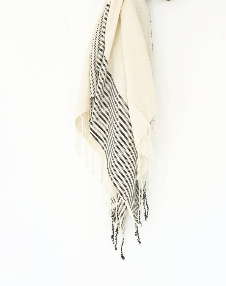 Sand Turkish Towel // Natural With Black Stripe