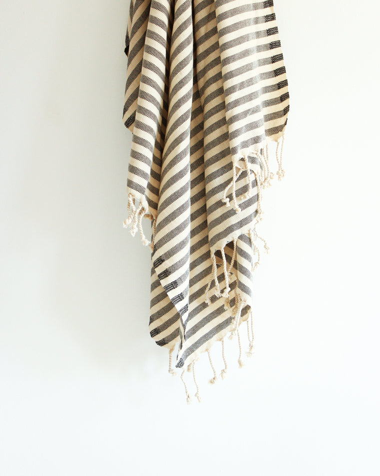 Tulum Turkish Towel // Natural with Black Stripes