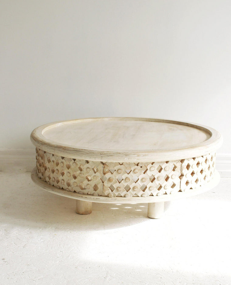 Hand Carved Wood Round Coffee Table  // White Washed