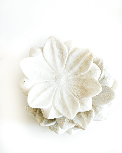 Hand Carved Marble Lotus Plate // Small