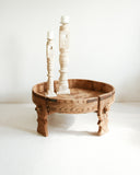 Hand Carved Chakki Grinder Table // Tribal / Natural