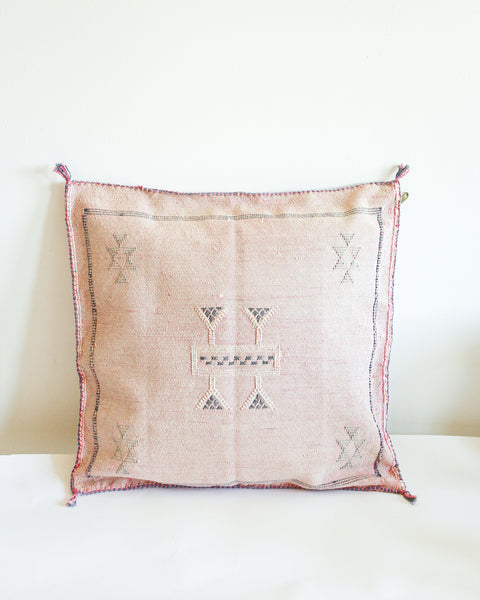 Handwoven Moroccan Cactus Cushion // Pink