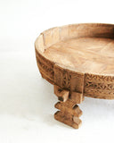 Antique Hand Carved Chakki Grinder Table // Natural