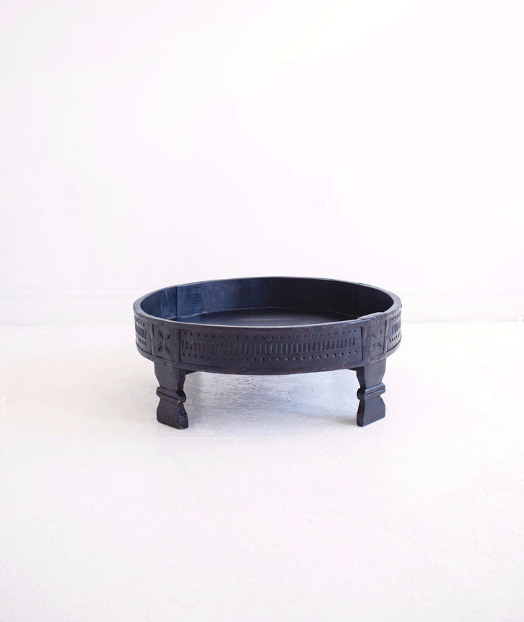 Hand-Carved Chakki Grinder Table // Black