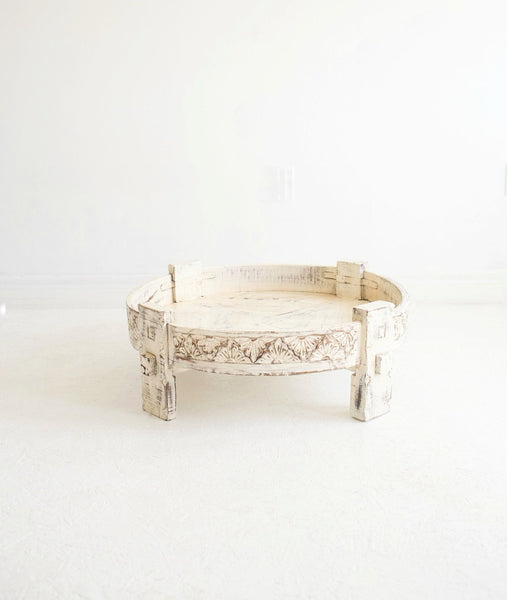 Hand-Carved Chakki Grinder Table // White-Washed