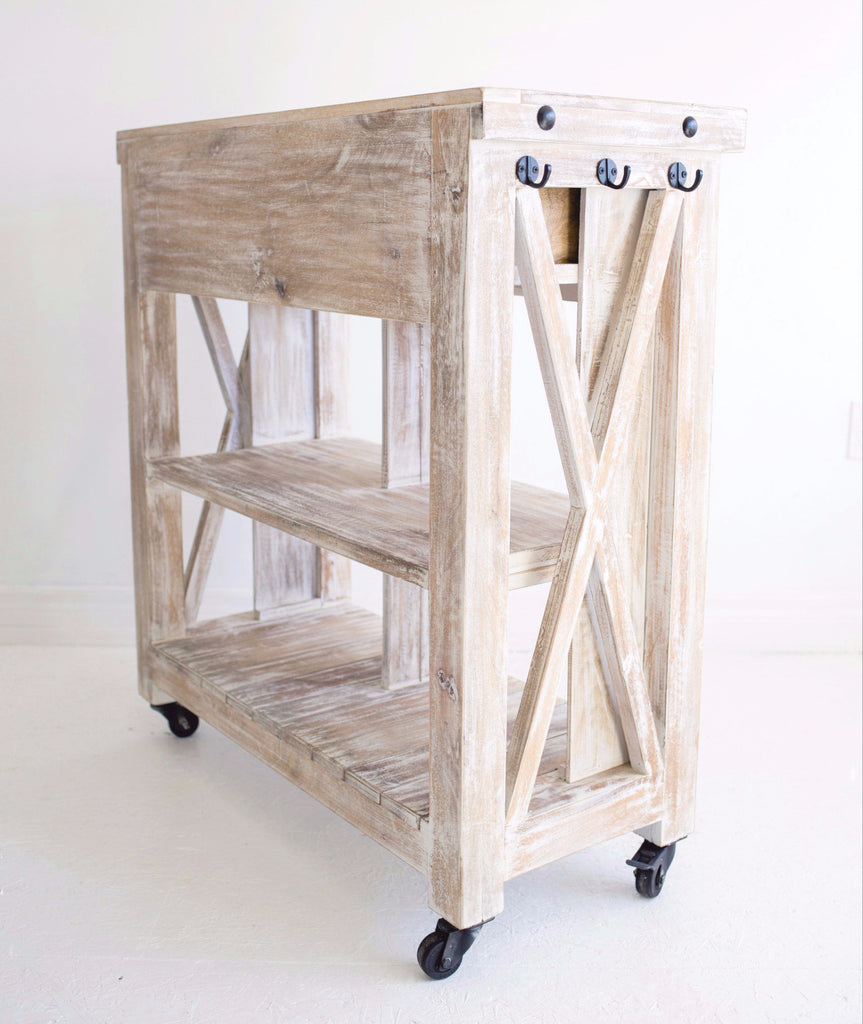 Recycled Wood Kitchen Island Cart White Washed The Gerdu