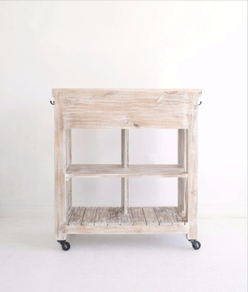 white washed wooden kitchen trolley