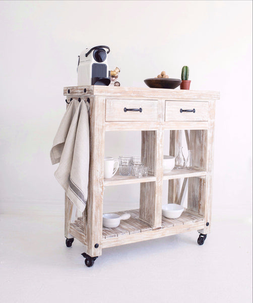 THE GERDU - White Washed Wooden Kitchen Cart