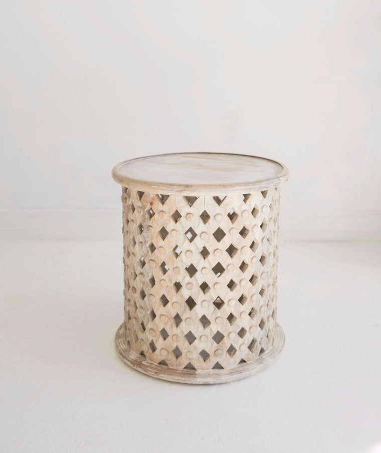 Hand-Carved Side Table // White-Washed
