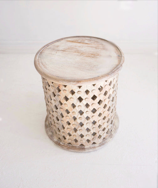 bohemian style hand carved side table in white