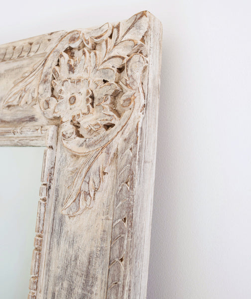 Hand-Carved Extra Large Wall Mirror // White-Washed
