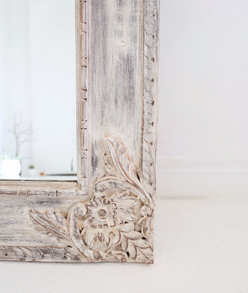 hand carved white wash extra large wall mirror