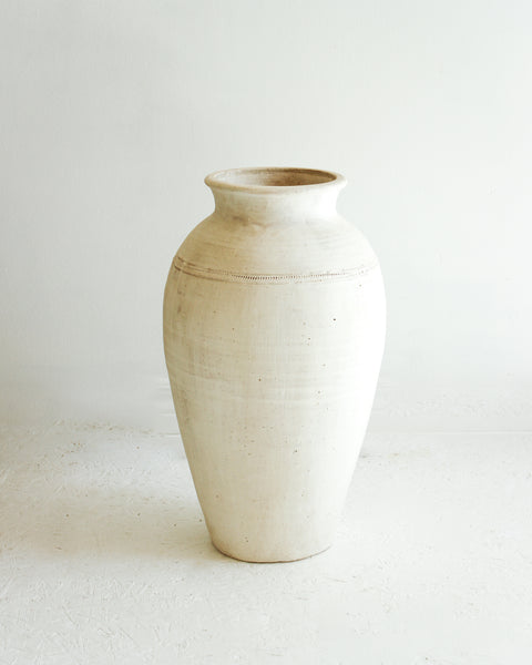 Floor Clay Vase // White Washed