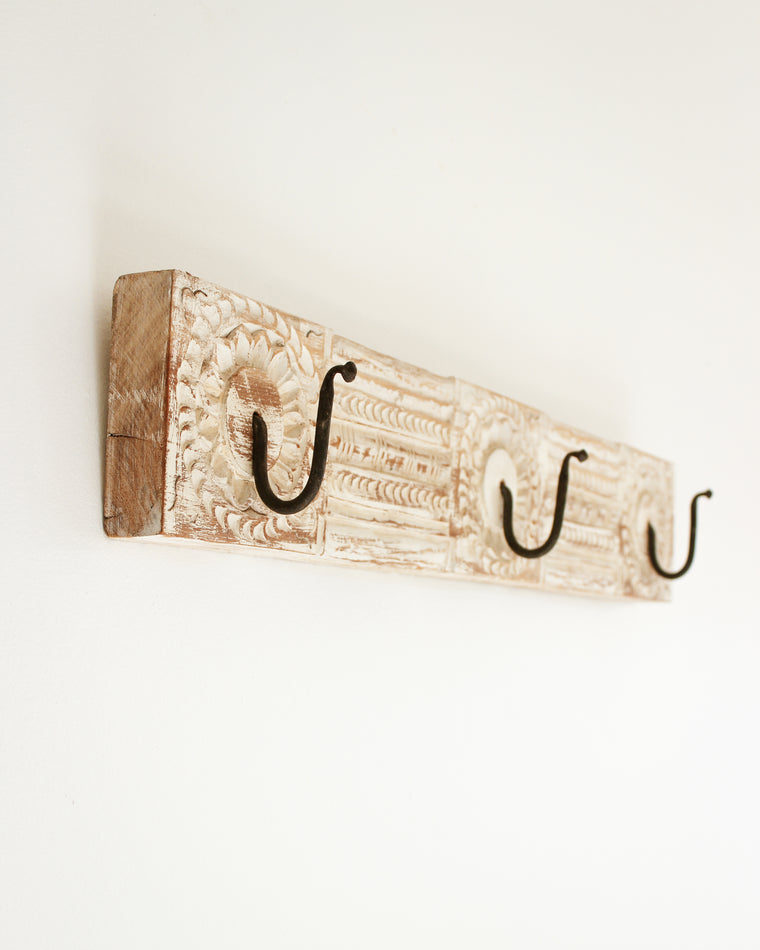 Hand Carved Wooden Wall Hook // White Washed