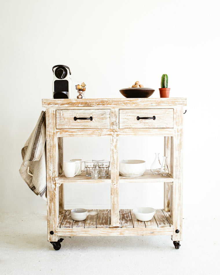 Recycled Wood Kitchen Island Cart // White-Washed