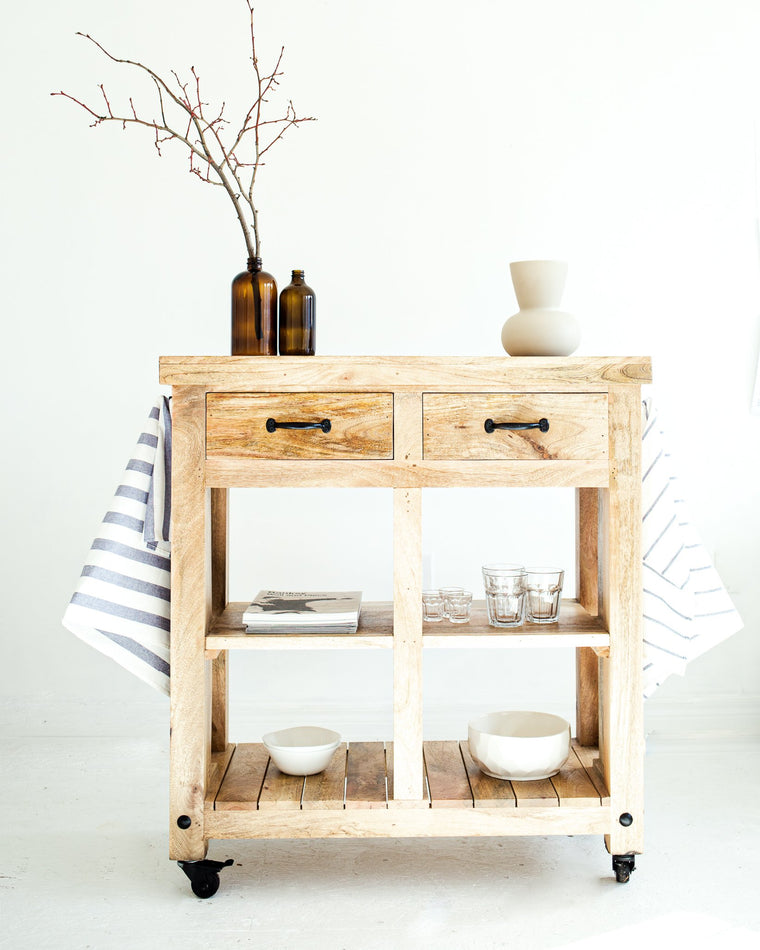 Recycled Wood Kitchen Island Cart // Natural