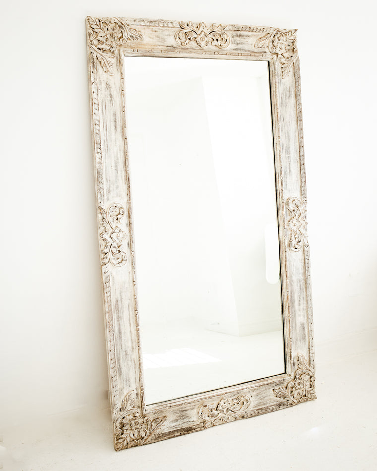 Hand Carved Extra Large Wall Mirror // White-Washed