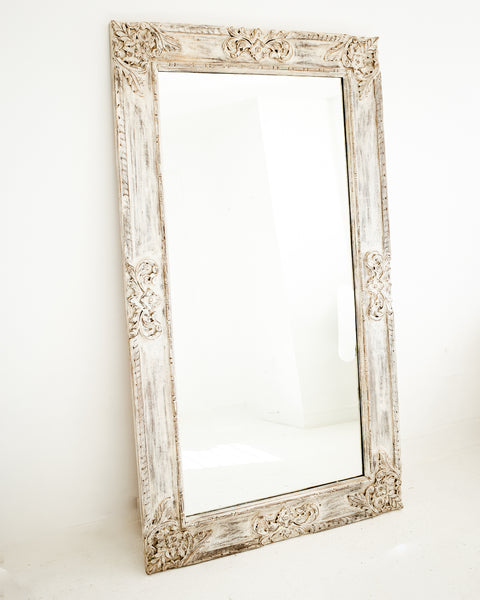 THE GERDU - hand carved white wash extra large wall mirror