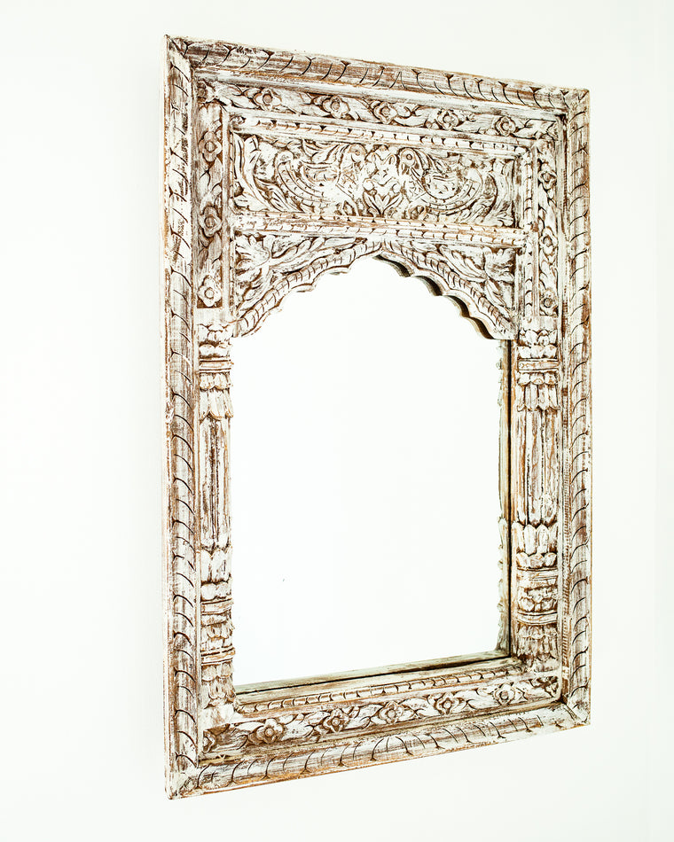 Hand Carved Wooden Mirror With Arched Frame // White-Washed
