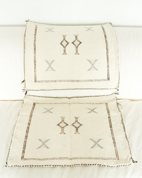 Handwoven Moroccan Cactus Cushion Cover // MILK / Style 2