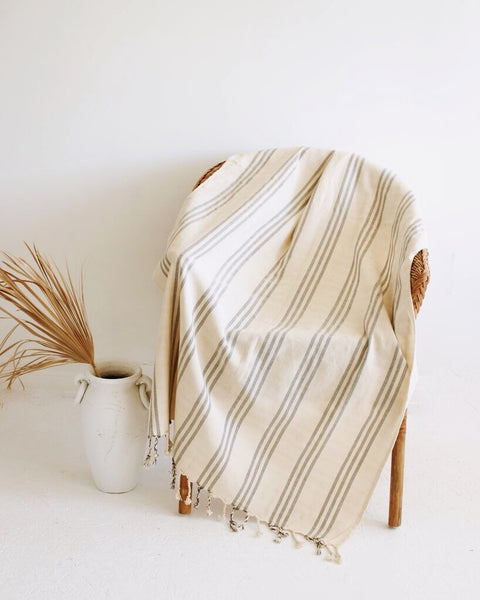 Palm Turkish Towel // Natural with Blue Stripes