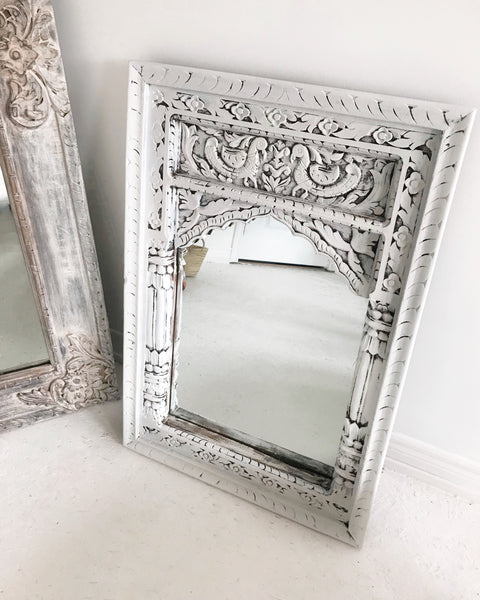 Hand Carved Wooden Mirror With Arched Frame // Snow White