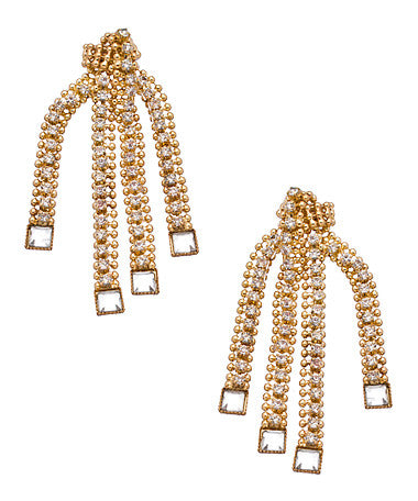 Crystal and Beaded Chain Earrings