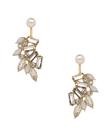 Crystal and Pearl Zoe Front to Back Earrings