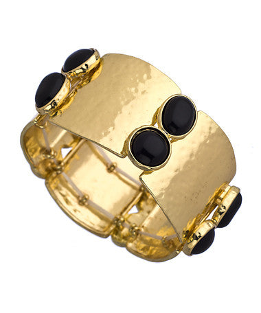 Gold and Black Cabochon Wide Cuff Bracelet