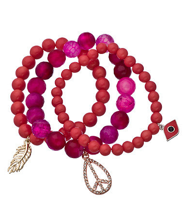Set of Three Fuchsia Pink and Coral Beaded Stretch Charm Bracelets