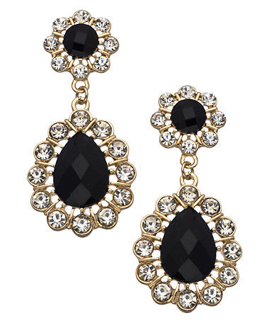 Gold Black and Clear Crystal Teardrop Earrings