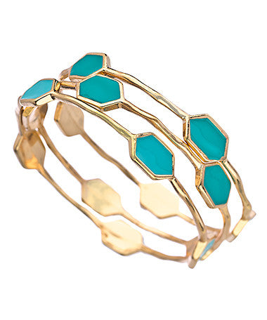 Set of Three Gold and Turquoise Five Station Bangle Bracelets