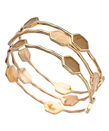 Set of Three Gold and Tan Five Station Bangle Bracelets